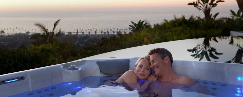 Couple relaxing in hot tub