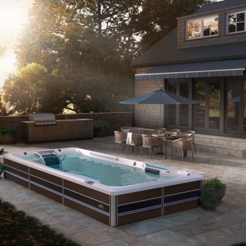 E500 Swim Spa on back patio.