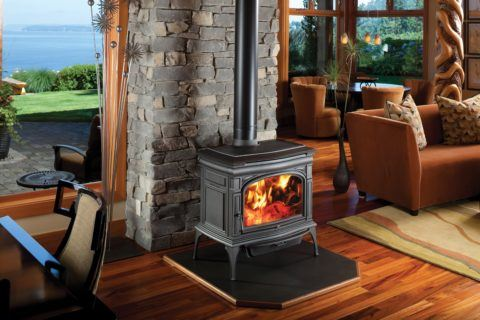 wood pellet stove in seaside home