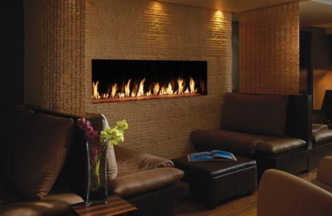 long wall unit fireplace insert in sitting area restaurant