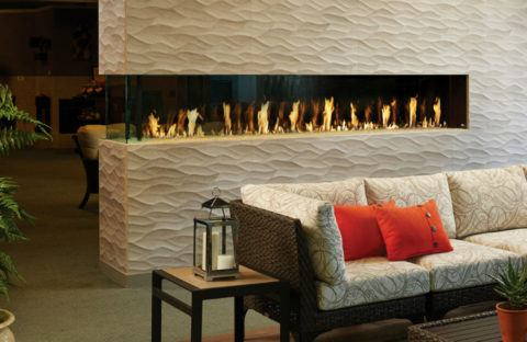 see-through linear fireplace wall end unit