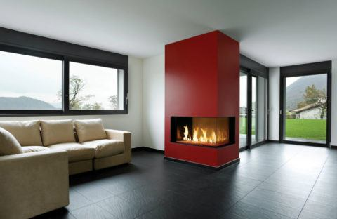 fireplace corner insert in modern living area