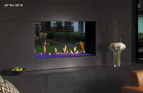 see-through luxury fireplace wall unit
