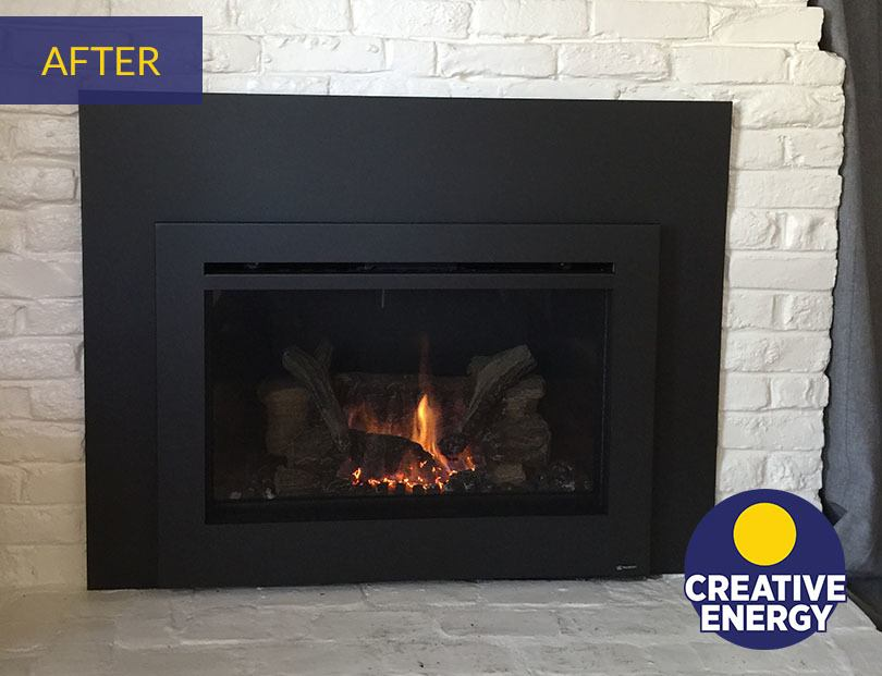 After image showing off Creative Energy Fireplace Insert