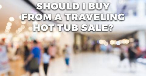 People shopping at traveling hot tub sale