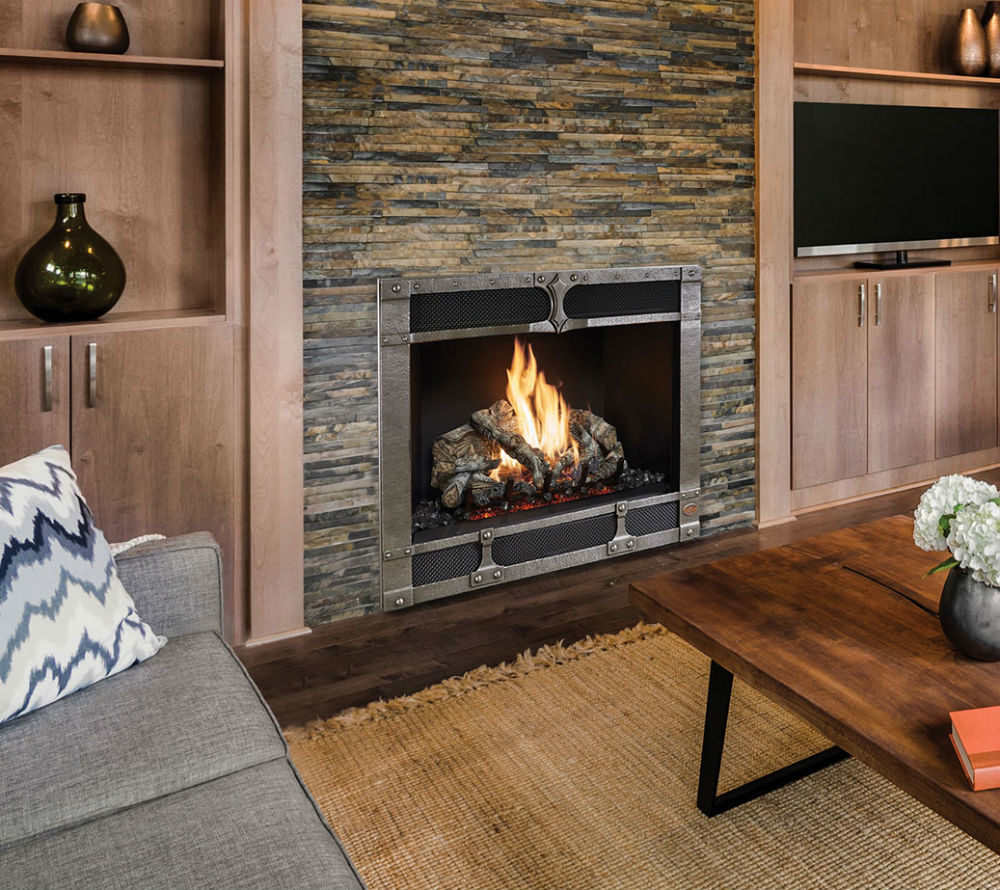 fireplace unit in slate stone wall