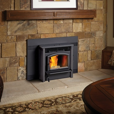 pellet stove wall unit insert living area