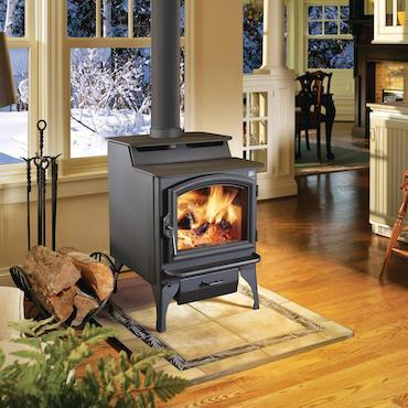 endeavor pellet stove in living area with winter landscape visible through window