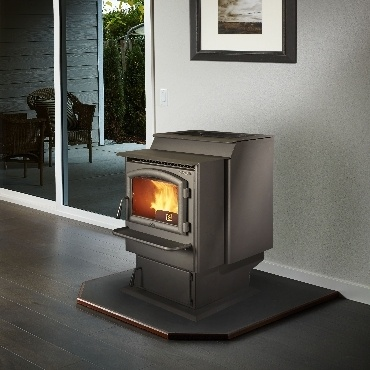 foxfire pellet stove in living area