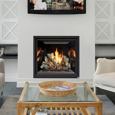 fireplace in modern living space