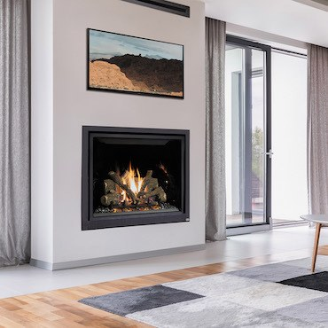 fireplace insert in a modern white living room