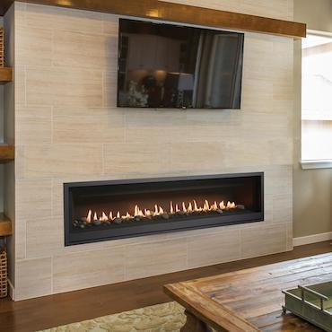 linear fireplace wall unit in marble facade