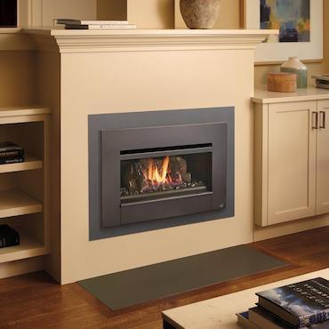 radiant plus fireplace in cream colored wall