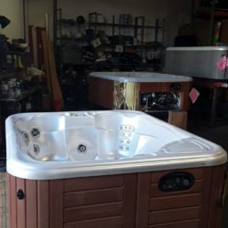 hot tub with pearl interior under florescent lights
