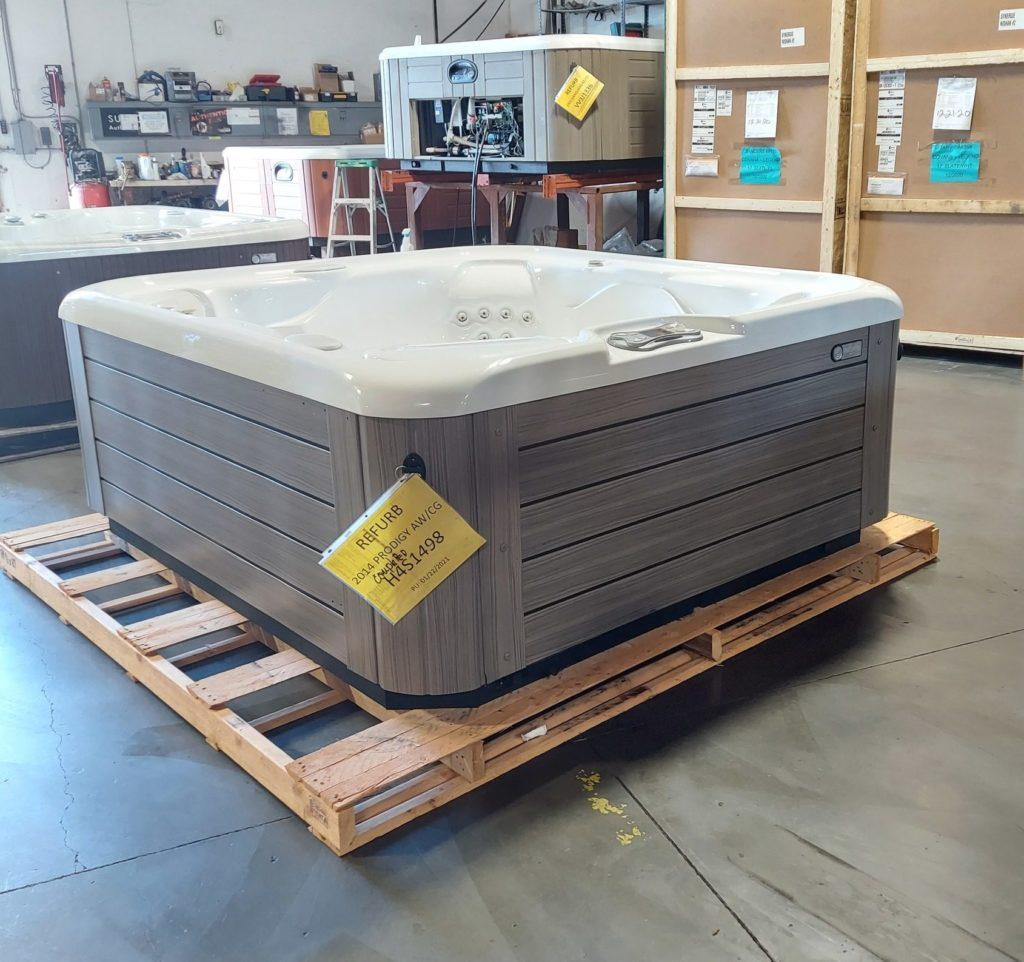 hot tub spa on palette showroom