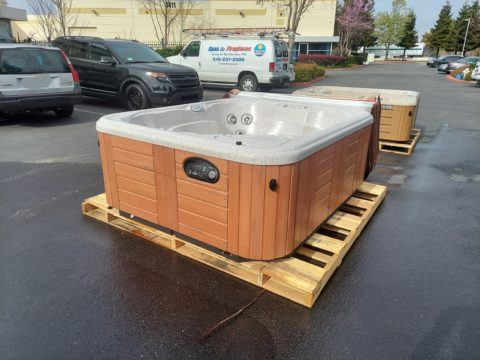 hot tub light wood colored exterior on palette