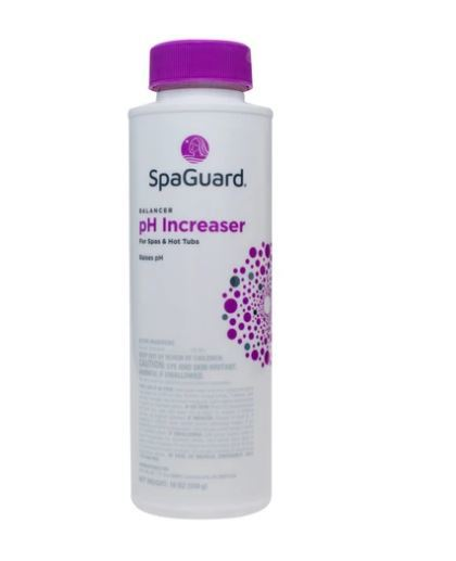 pH increaser for hot tubs and spas bottle
